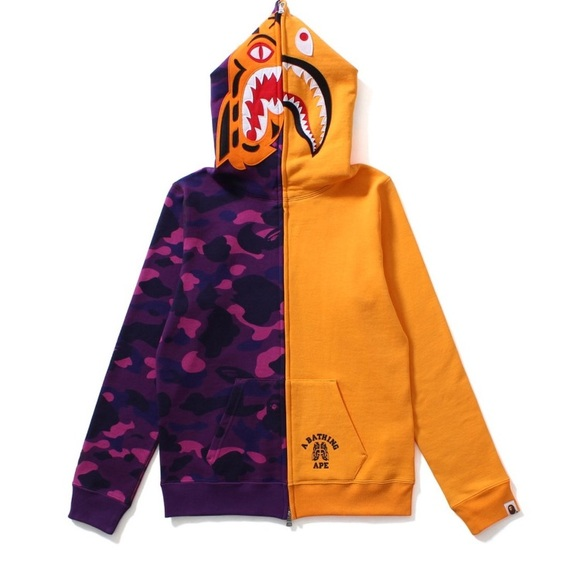 8630ee4b Bape Tops | Color Camo Tiger Shark Half Full Zip Hoodie | Poshmark